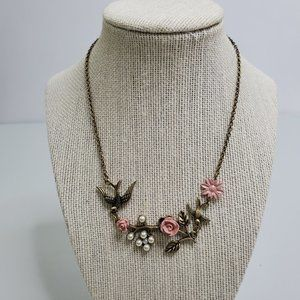 Floral Bird Necklace Gold Tone Faux Pearl Pink Flo